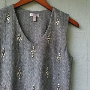 Chelsea28 Houndstooth Jeweled Shell Tank Small